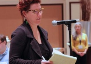Denver Newspaper Guild member Norma Ruth Ryan speaks at the TNG-CWA sector conference in January.