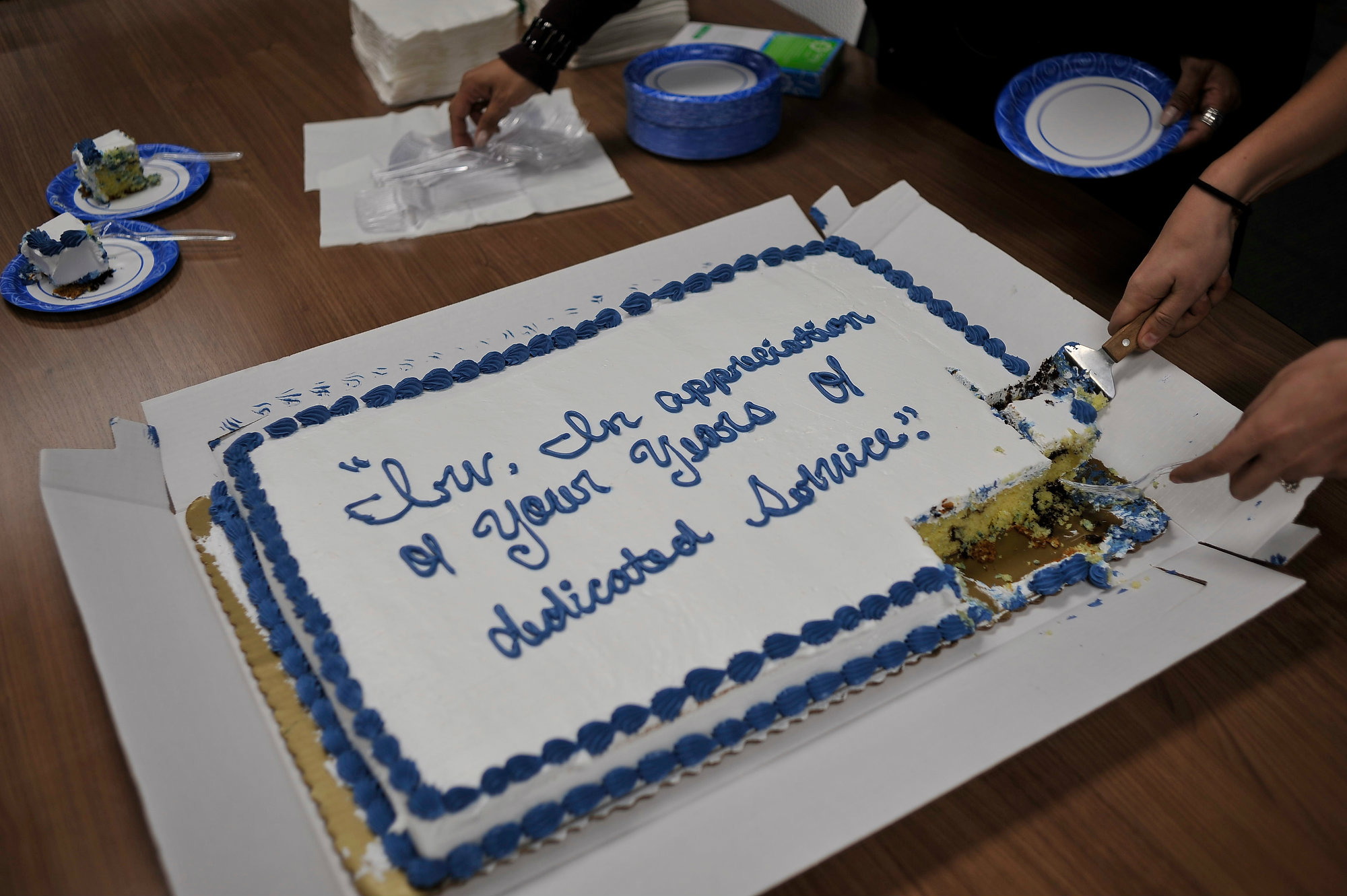 The cake Irv and staffers enjoyed during the celebration. Photo by Pat Traylor