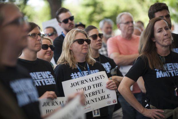 DENVER, CO. - JUNE 17: The Denver Newspaper Guild held a rally outside The Denver Post condemning downsizing actions by owner Alden Global Capital.